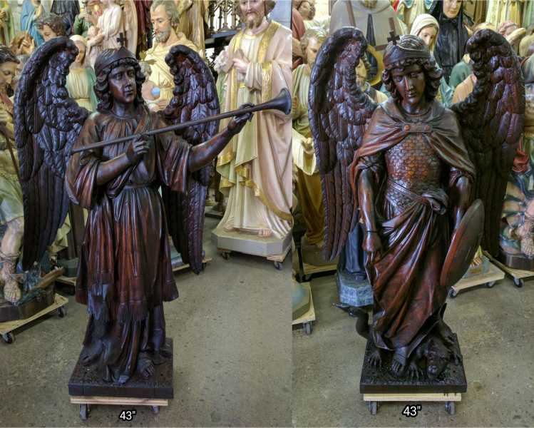 1-Set-of-Geissler-St-Gabriel-Michael-Carved-Wood-Statues